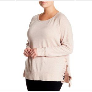 3/$30 14th & Union Ruffled Trim Pullover 2X Pink